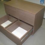 rudos 4 stalčių vaikų komodos praviri stalčiai be rankenėlių
