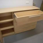 smėlio spalvos biuro komodos praviros 1 durelės ir stalčius