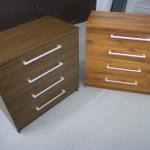 dvi rudos 4 stalčių akcijinės prieškambario komodos